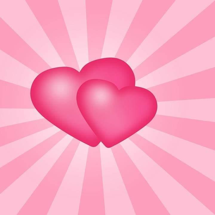 Två rosa hjärtan